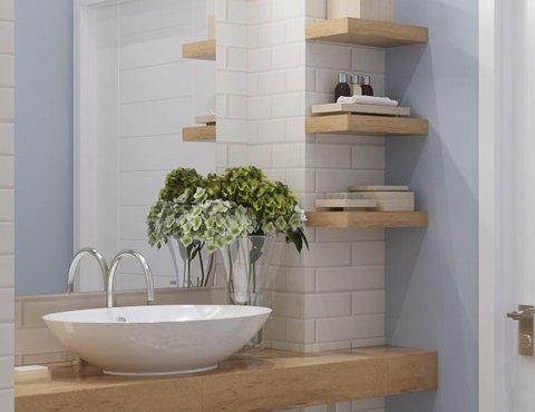 Дизайн интерьера ванной комнаты и санузла по ул. Орденоносцев 6