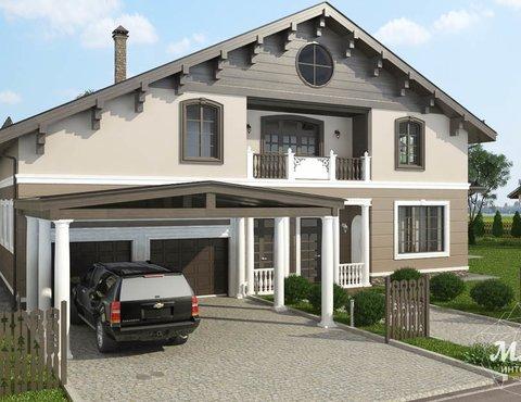 Дизайн фасада коттеджа в п. Образцово
