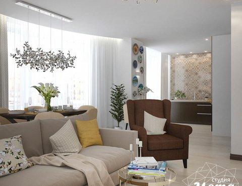 Дизайн интерьера двухкомнатной квартиры в ЖК Чемпион Парк
