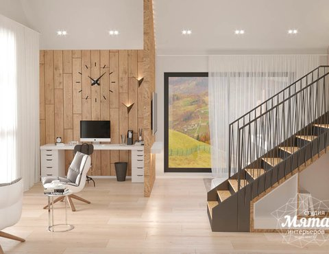 Дизайн интерьера гостиной в коттедже в г. Алапаевск