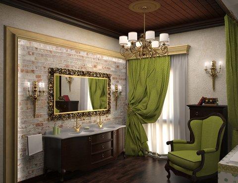 Интерьер ванной команты в коттедже