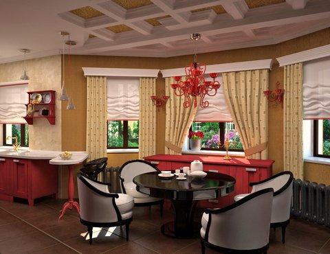 Дизайн интерьера коттеджа первого этажа по ул. Урожайная 17