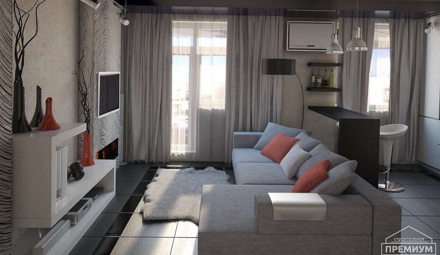 Дизайн интерьера однокомнатной квартиры по ул. Крауля 56 6