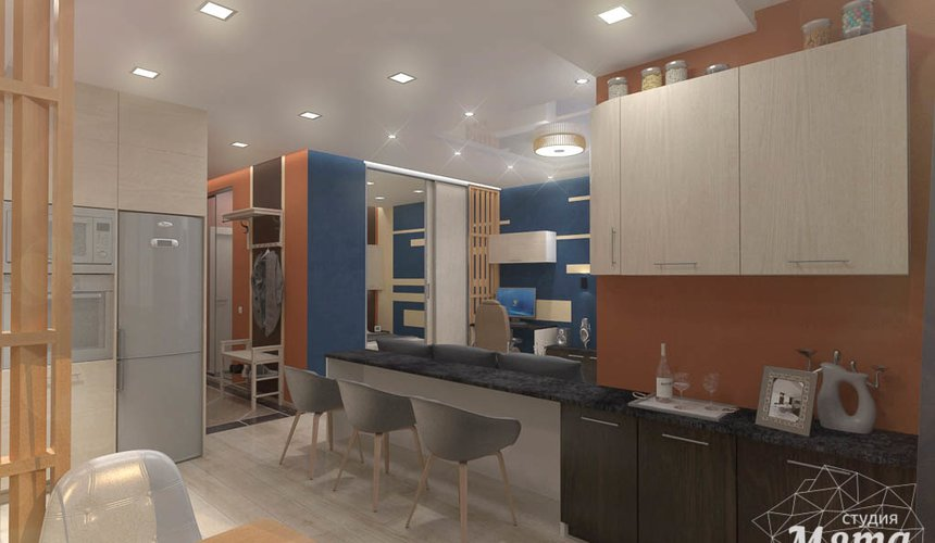 Дизайн интерьера однокомнатной квартиры в ЖК Крылов 3