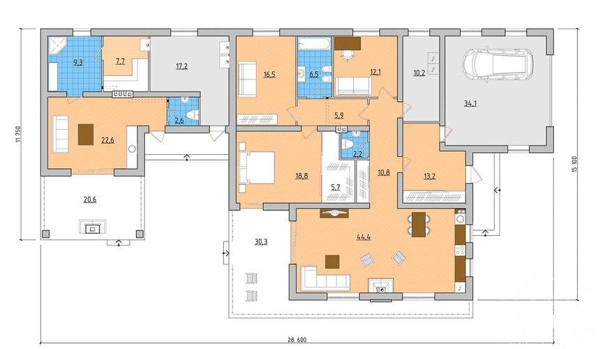 Дизайн-проект фасада коттеджа 240 м2 в КП Мельница 4