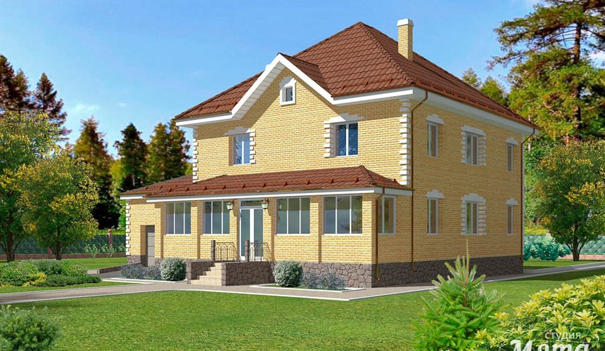 Дизайн фасада дома 270 м2 в КП Заповедник 1