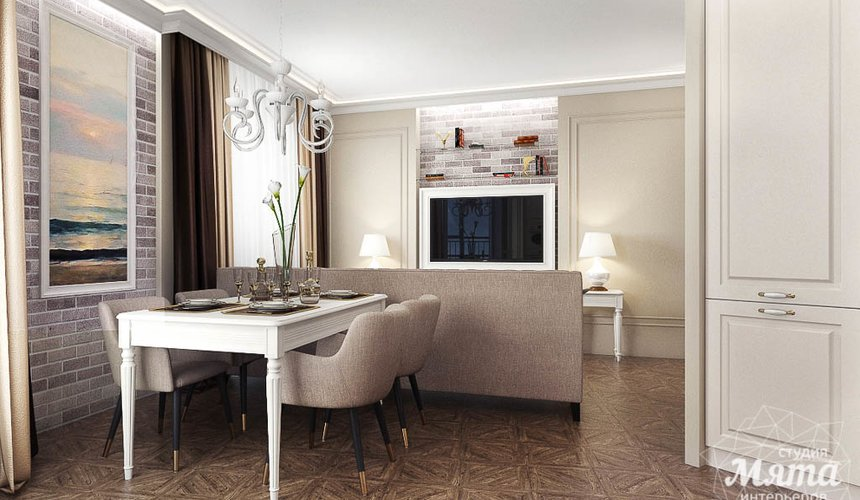 Дизайн интерьера гостиной и санузлов четырехкомнатной квартиры в ЖК Флагман 5
