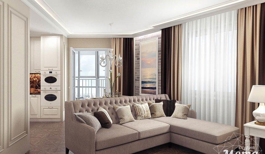 Дизайн интерьера гостиной и санузлов четырехкомнатной квартиры в ЖК Флагман 6