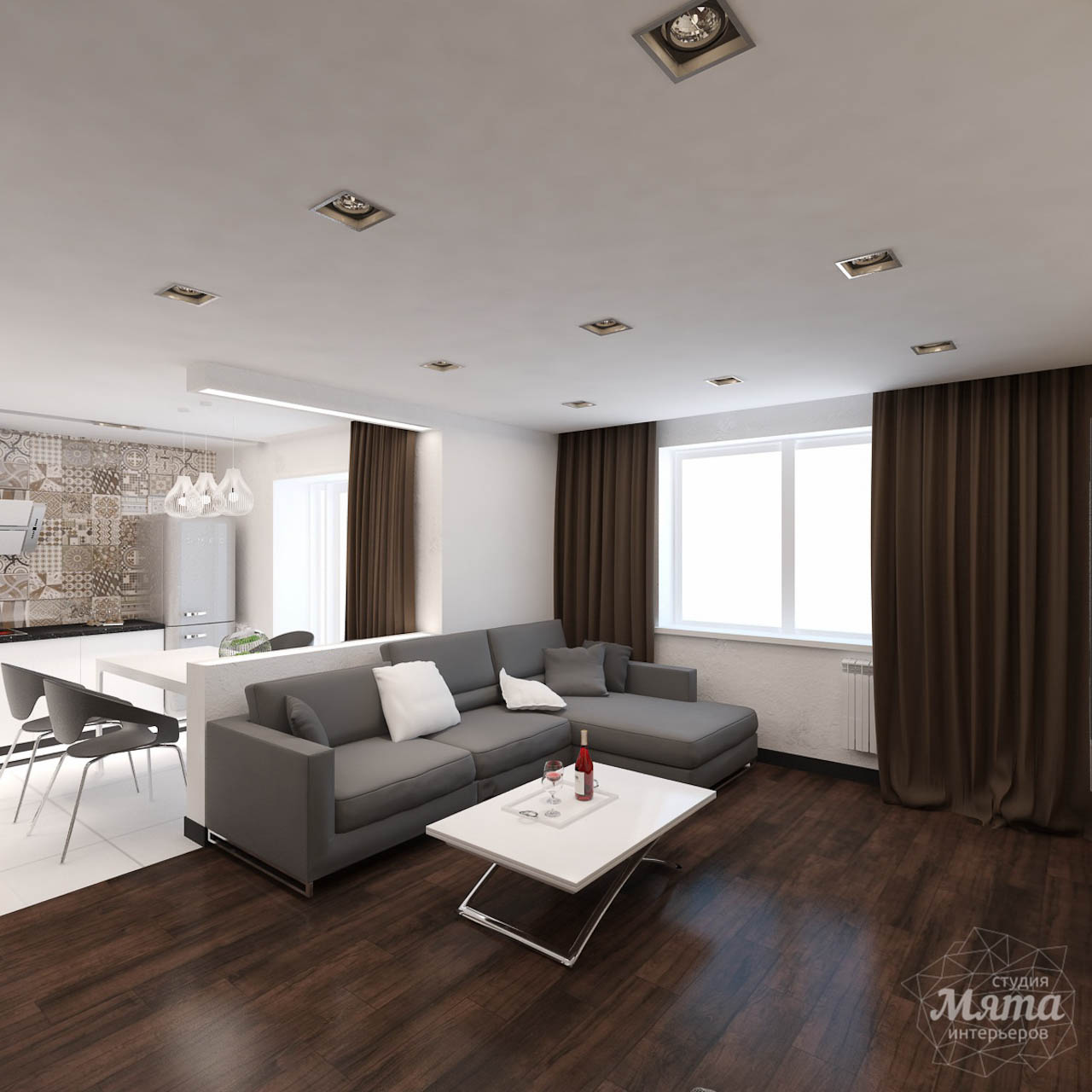 интерьер в стиле контемпорари в маленькой квартире