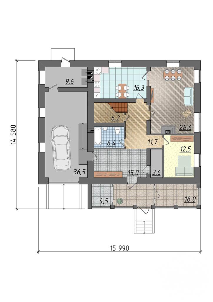 Дизайн фасада дома 270 м2 в КП Заповедник 5