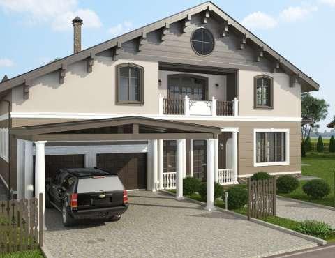 Дизайн фасада коттеджа в Образцово