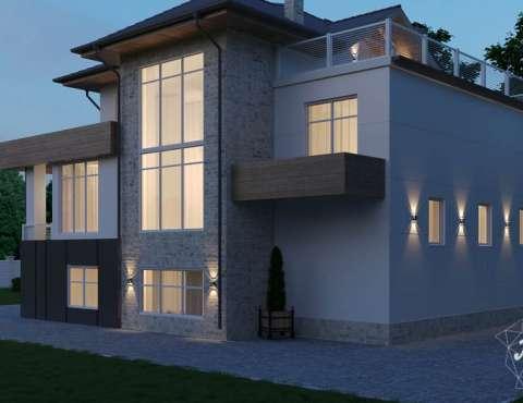 Дизайн фасада коттеджа в Шайдурово