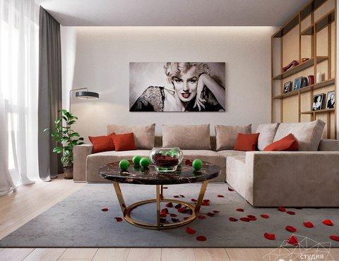 Дизайн интерьера однокомнатной квартиры по ул. Металлургов 14