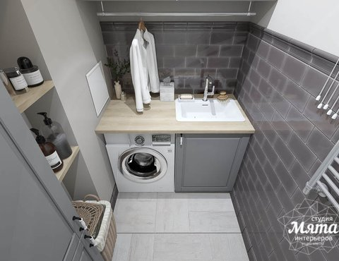 Дизайн интерьера прачечной комнаты квартиры в ЖК Менделеев