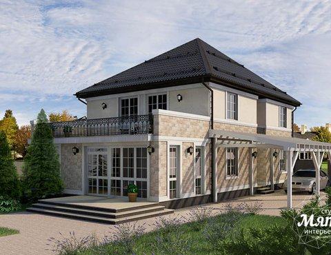 Дизайн фасада коттеджа 200 м2 в г. Тюмень