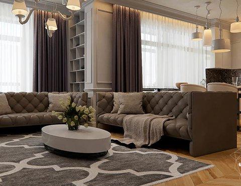 Дизайн интерьера четырехкомнатной квартиры в Новосибирске