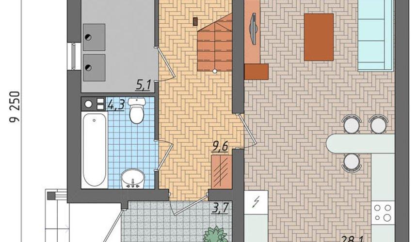Дизайн фасада частного дома 100м2 в Щелкун 4