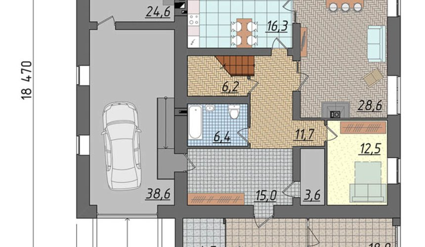 Дизайн проект фасада коттеджа 290 м2 в г. Сургут 5