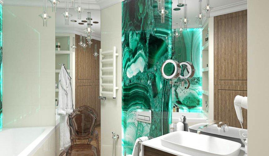 Дизайн интерьера гостиной и санузлов четырехкомнатной квартиры в ЖК Флагман 10