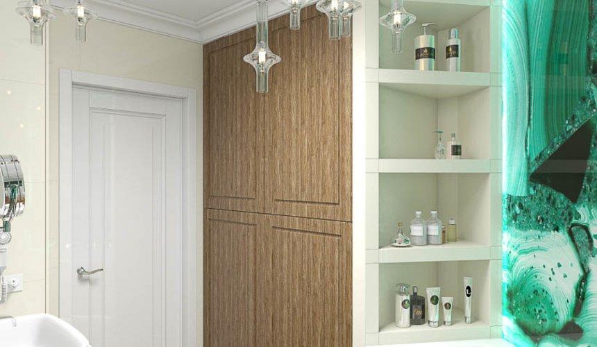 Дизайн интерьера гостиной и санузлов четырехкомнатной квартиры в ЖК Флагман 12