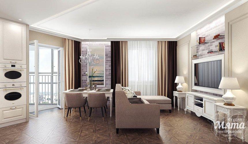 Дизайн интерьера гостиной и санузлов четырехкомнатной квартиры в ЖК Флагман 3
