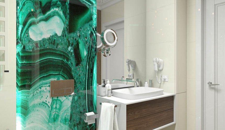 Дизайн интерьера гостиной и санузлов четырехкомнатной квартиры в ЖК Флагман 9