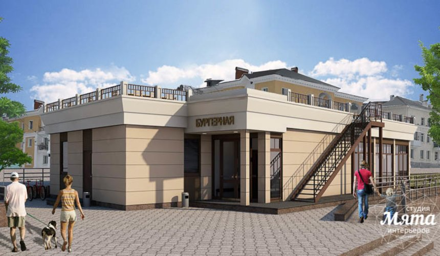 Дизайн фасада кафе 180 м2 на набережной г. Краснотурьинск 2